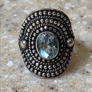 Boho Sky Blue Topaz Sterling Silver Granular Ring